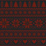 Modèle de tricotage nordique de vecteur de Noël sans couture avec des sapins, des flocons de neige, des fleurs ou des coeurs Image stock