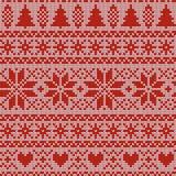 Modèle de tricotage nordique de vecteur de Noël sans couture avec des sapins, des flocons de neige, Selburose ou des coeurs illustration stock