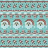 Modèle de tricotage nordique de vecteur de Noël sans couture avec Santa Claus, des flocons de neige et des rayures décoratives illustration stock
