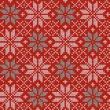 Modèle de tricotage nordique de vecteur de Noël sans couture avec Selburose et éléments décoratifs Images libres de droits