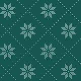 Modèle de tricotage nordique de vecteur de Noël sans couture avec Selburose et éléments décoratifs illustration stock