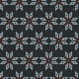 Modèle de tricotage nordique de vecteur de Noël sans couture avec Selburose et neige Photos stock