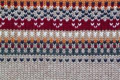 Modèle de tricotage réaliste gris, orange, rouge foncé et beige Images libres de droits