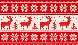 Modèle de tricotage sans couture avec des cerfs communs et des étoiles de nordic illustration de vecteur