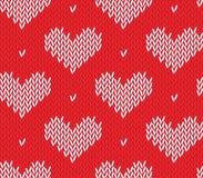 Modèle de tricotage sans couture avec des coeurs Illustration Libre de Droits