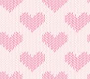 Modèle de tricotage sans couture avec des coeurs Illustration Stock