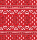 Modèle de tricotage sans couture de coeur de jacquard Illustration Stock