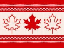 Modèle de tricotage sans couture - feuilles d'érable et rayures ornementales Photo libre de droits