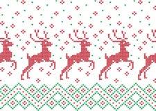 Modèle de tricotage de vacances d'hiver avec des arbres de Noël Conception de tricotage de chandail de Noël Texture tricotée par  Photos stock