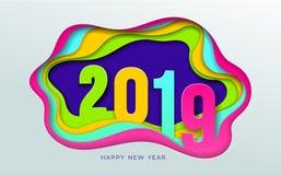 modèle de typographie de conception des textes de 2019 nombres art de papier et style numérique de métier Saison de bonne année e Photos stock
