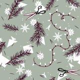 Modèle de vacances d'hiver avec des branches et des flocons de neige Photographie stock