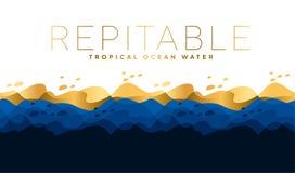 Modèle de vagues bleu de luxe d'eau de mer d'amd Motif d'océan pour l'en-tête, illustration stock