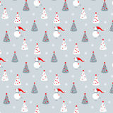 Modèle de vecteur avec des bonhommes de neige et des arbres de Noël illustration de vecteur