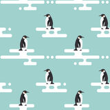 Modèle de vecteur avec des pingouins se tenant sur le glacier Images stock