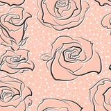 Modèle de vecteur avec les roses main-esquissées Photos stock