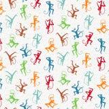 Modèle de vecteur avec les singes de danse colorés illustration stock