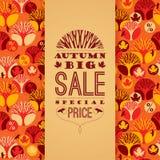 Modèle de vecteur d'automne avec la typographie de vente Images stock