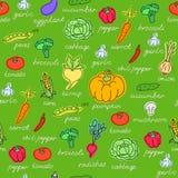 Modèle de vecteur de fond sans couture avec des légumes Photos libres de droits