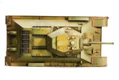 Modèle de vieux réservoir du Soviétique T-34 Vue supérieure Photographie stock libre de droits