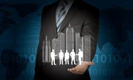 Modèle de ville et gens d'affaires de silhouettes Images stock