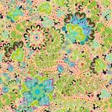 Modèle de vintage dans le style indien de batik Fond floral de vecteur Illustration Libre de Droits