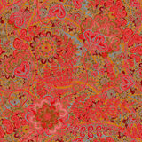 Modèle de vintage dans le style indien de batik Fond floral de vecteur Illustration de Vecteur