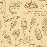 Modèle de vintage de crème glacée  Photo libre de droits