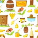 Modèle des éléments de bande dessinée de l'apiculture Images stock