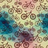 Modèle des bicyclettes sur le fond géométrique Photo libre de droits