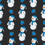Modèle des bonhommes de neige avec des gants Image libre de droits
