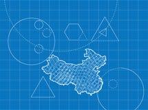 Modèle des cartes de la Chine Images libres de droits