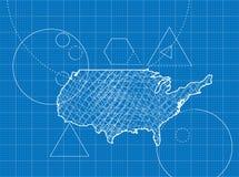 Modèle des cartes des Etats-Unis Image libre de droits