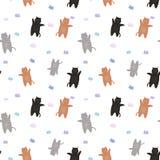 Modèle des chats rouges et gris avec des papillons Sur un fond blanc Photo stock