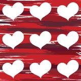 Modèle des coeurs sur un fond rouge Images libres de droits