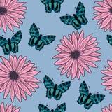Modèle des gerberas et des papillons Illustration de vecteur Dessin à la main Images libres de droits