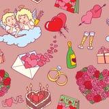 Modèle des griffonnages de Valentine illustration stock