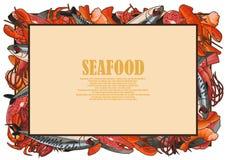 Modèle des illustrations des fruits de mer Images stock