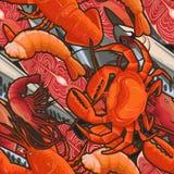 Modèle des illustrations des fruits de mer Photos libres de droits