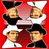 Modèle des portraits de cowboy sur le fond rouge images libres de droits