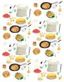 Modèle des recettes pour des crêpes Photo libre de droits
