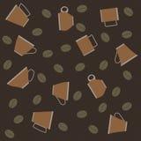 Modèle des tasses de café et de haricots sur le fond rayé Photo stock