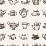 Modèle des tasses de thé et des théières Images stock