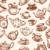 Modèle des tasses et des théières Photo stock