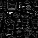 Modèle différent tiré par la main de café, ligne blanche sur le fond noir Menu de café illustration libre de droits