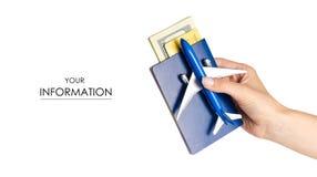Modèle disponible de voyage d'avion de passeport d'argent des dollars de carte internationale miniature de paiement Images libres de droits