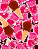 Modèle doux sans couture avec des glaces à l'eau, les cônes de glace et la cerise dans le style de bande dessinée Photos libres de droits