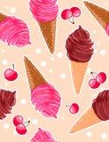 Modèle doux sans couture avec les cônes de glace de baie et de chocolat, merises dans le style de bande dessinée Image libre de droits