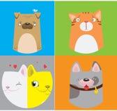 Modèle drôle de chiens et de chats Illustration mignonne de vecteur Photographie stock