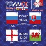 Modèle, drapeaux, date et heure pour le championnat du football illustration libre de droits