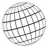 Modèle du globe 3D de la terre ou de la planète, modèle de la sphère céleste avec la grille du même rang illustration libre de droits